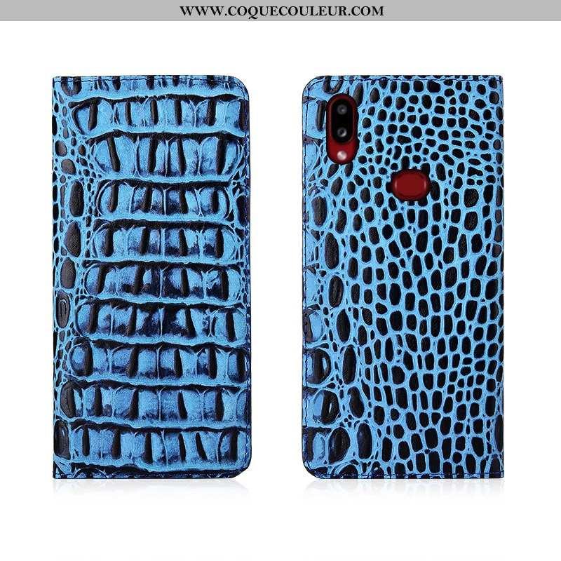 Coque Samsung Galaxy A10s Cuir Véritable Délavé En Daim Bleu, Housse Samsung Galaxy A10s Tendance Bl