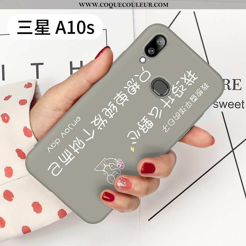 Étui Samsung Galaxy A10s Tendance Délavé En Daim Personnalité, Coque Samsung Galaxy A10s Légère Gris