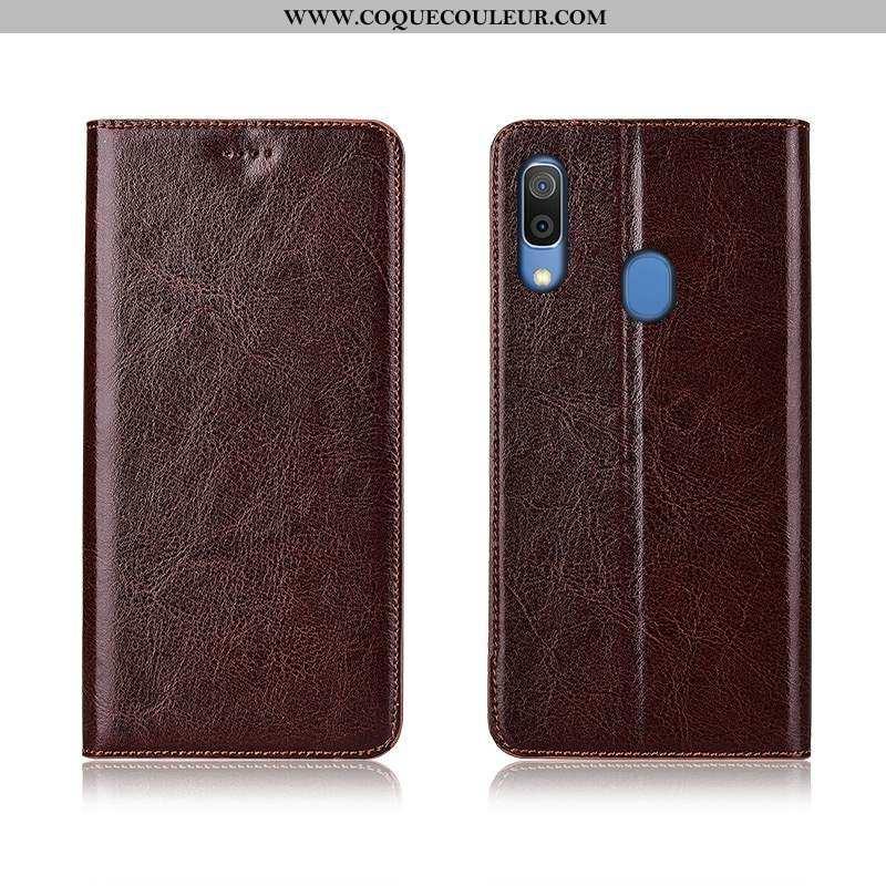 Étui Samsung Galaxy A20e Protection Silicone Marron, Coque Samsung Galaxy A20e Cuir Véritable Marron
