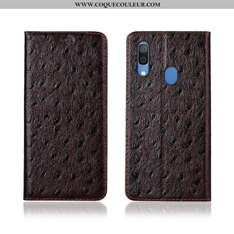 Étui Samsung Galaxy A20e Silicone Étoile, Coque Samsung Galaxy A20e Protection Cuir Véritable Marron