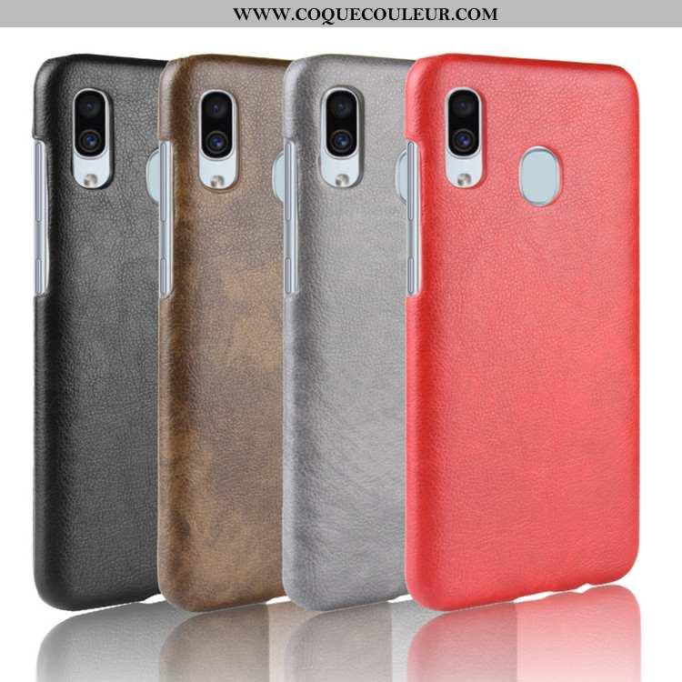 Coque Samsung Galaxy A20e Cuir Étui Rouge, Housse Samsung Galaxy A20e Modèle Fleurie Protection Roug
