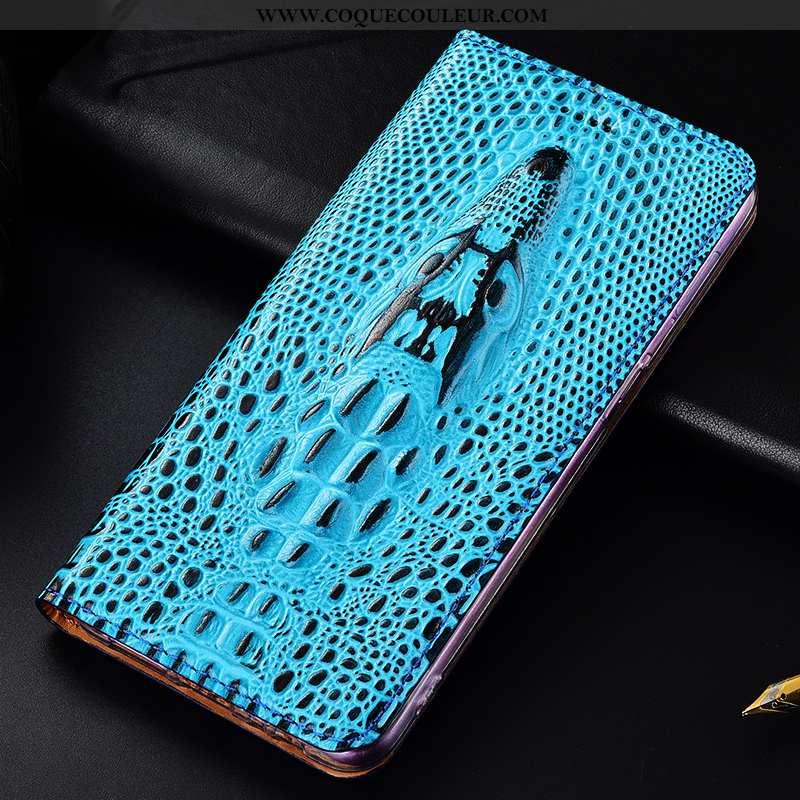 Housse Samsung Galaxy A20e Cuir Véritable Étoile, Étui Samsung Galaxy A20e Protection Bleu