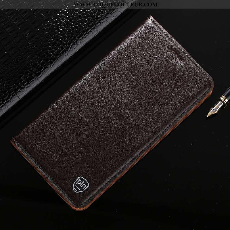 Étui Samsung Galaxy A20s Protection Coque Étui, Samsung Galaxy A20s Cuir Véritable Incassable Marron
