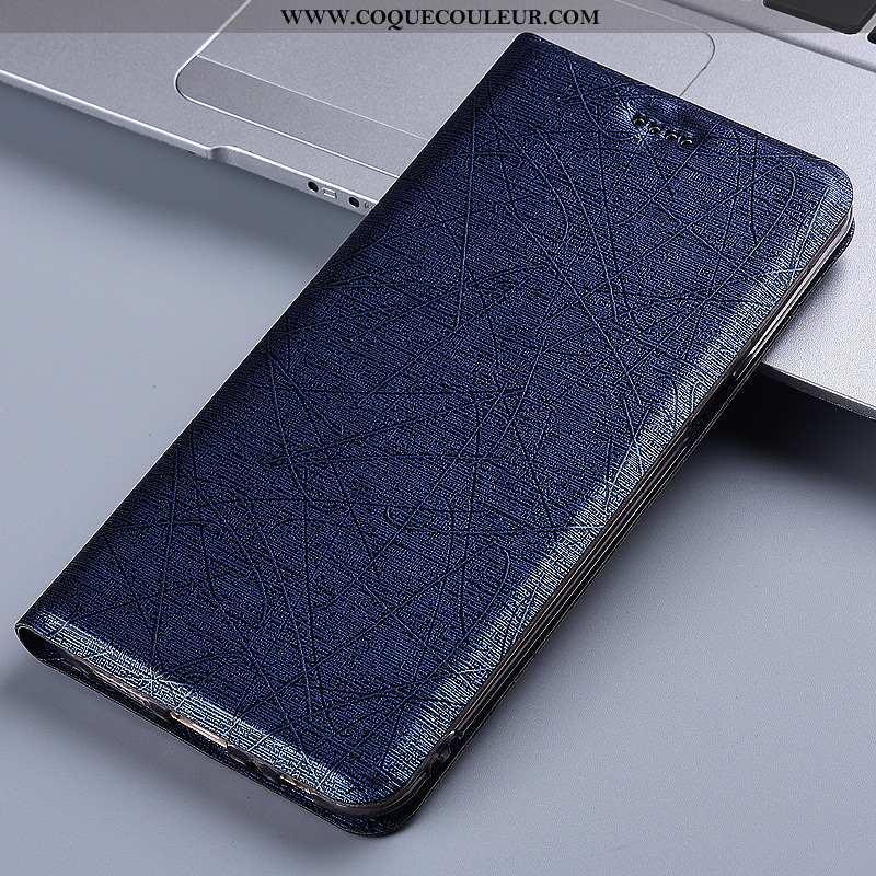 Étui Samsung Galaxy A21s Cuir Incassable Soie, Coque Samsung Galaxy A21s Protection Housse Bleu Fonc