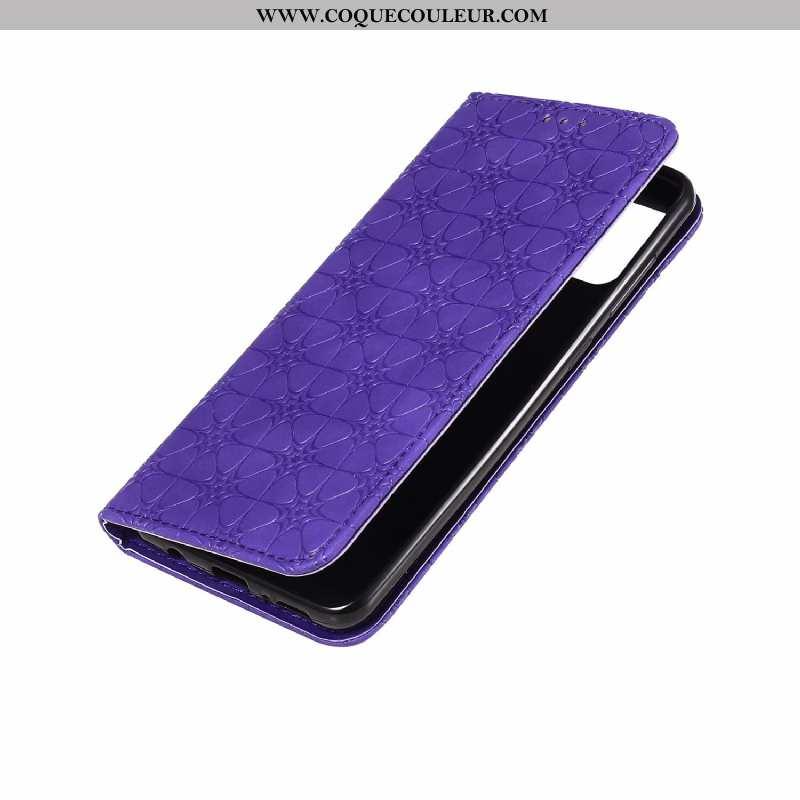 Étui Samsung Galaxy A21s Cuir Étoile Étui, Coque Samsung Galaxy A21s Modèle Fleurie En Relief Violet