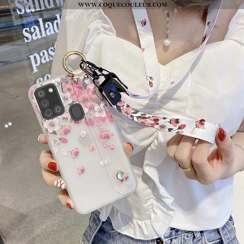 Coque Samsung Galaxy A21s Ornements Suspendus Étoile, Housse Samsung Galaxy A21s Créatif Rose