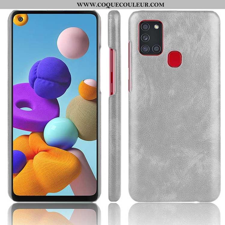 Coque Samsung Galaxy A21s Cuir Étui Incassable, Housse Samsung Galaxy A21s Délavé En Daim Gris
