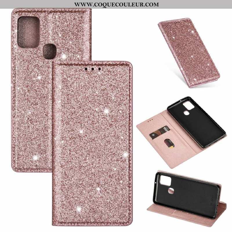 Coque Samsung Galaxy A21s Cuir Téléphone Portable Étui, Housse Samsung Galaxy A21s Clamshell Rose