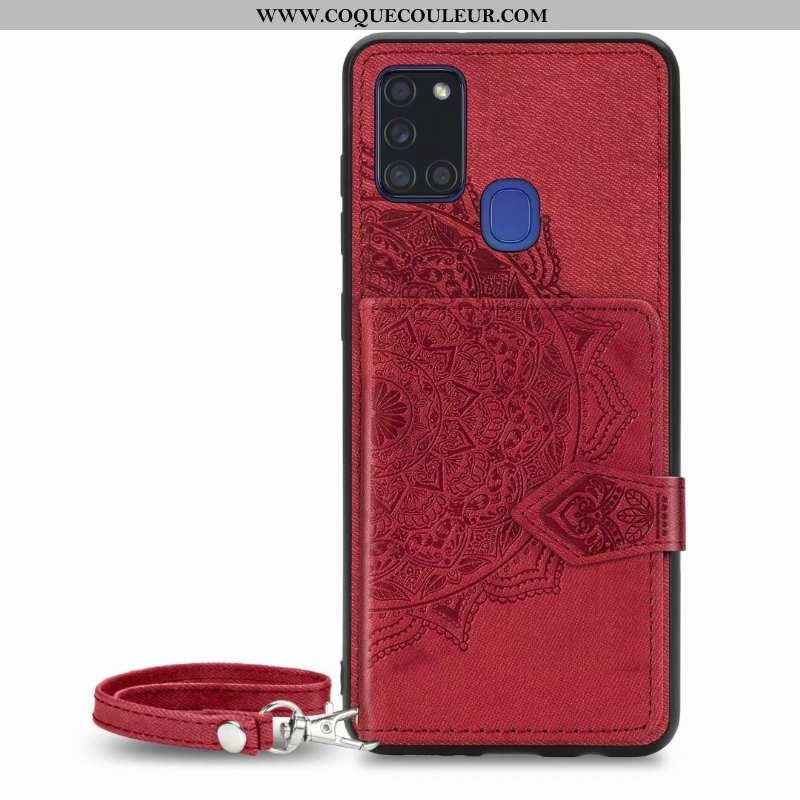 Coque Samsung Galaxy A21s Portefeuille Téléphone Portable Rouge, Housse Samsung Galaxy A21s Cuir Mod