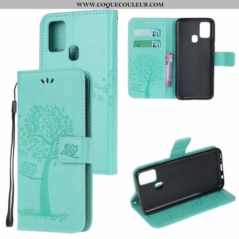 Coque Samsung Galaxy A21s Fluide Doux Cuir Étui, Housse Samsung Galaxy A21s Portefeuille Vert Verte