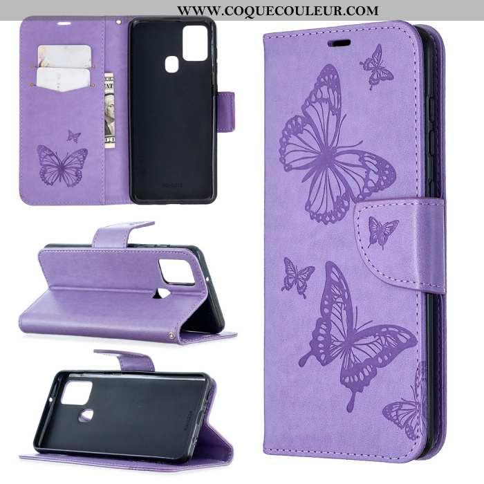 Étui Samsung Galaxy A21s Cuir Papillon Incassable, Coque Samsung Galaxy A21s Étoile En Relief Violet