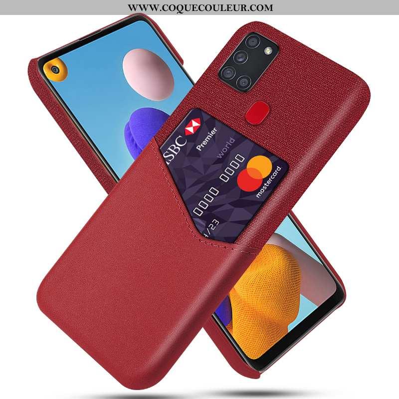 Étui Samsung Galaxy A21s Personnalité Rouge Téléphone Portable, Coque Samsung Galaxy A21s Cuir Prote