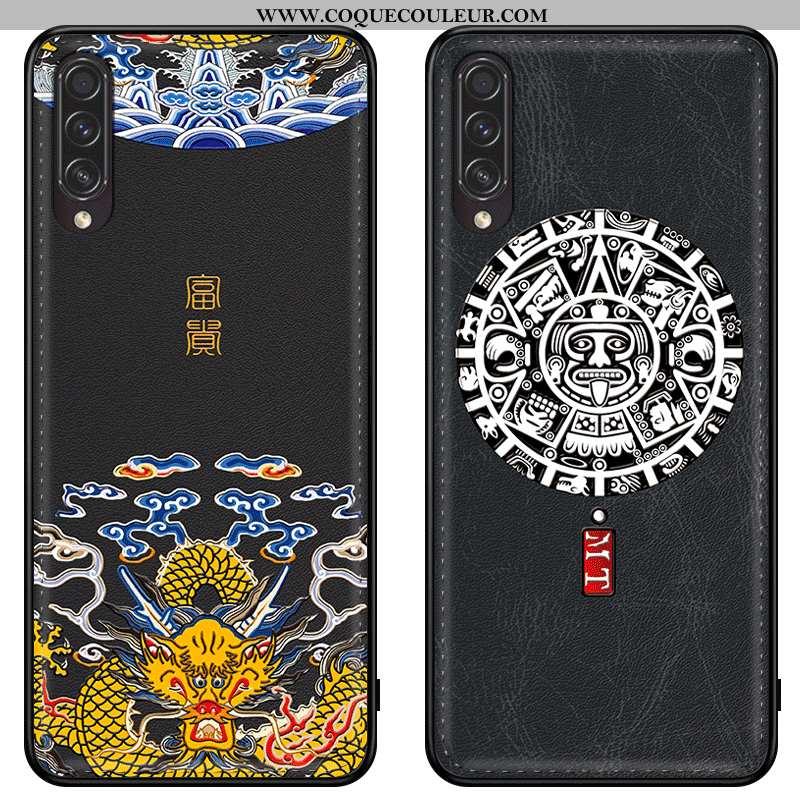 Housse Samsung Galaxy A30s Gaufrage Créatif Étoile, Étui Samsung Galaxy A30s Dessin Animé Cuir Noir