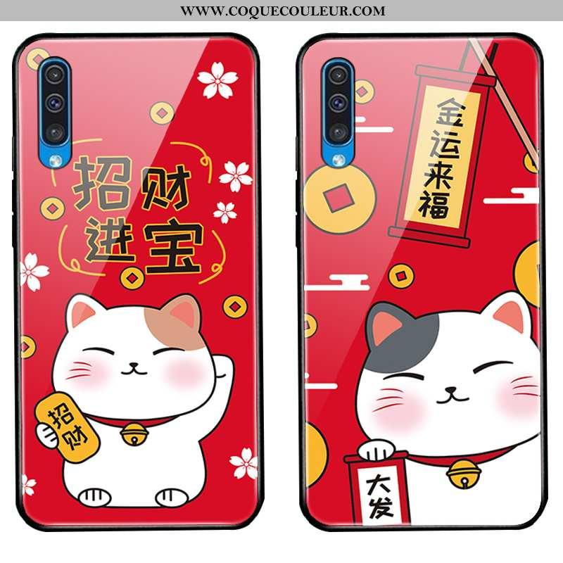 Housse Samsung Galaxy A30s Verre Étui Étoile, Samsung Galaxy A30s Protection Nouveau Rouge
