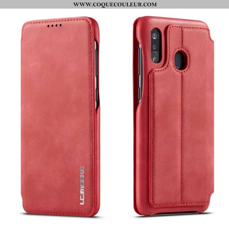 Coque Samsung Galaxy A40 Tendance Étoile Tout Compris, Housse Samsung Galaxy A40 Cuir Étui Rouge