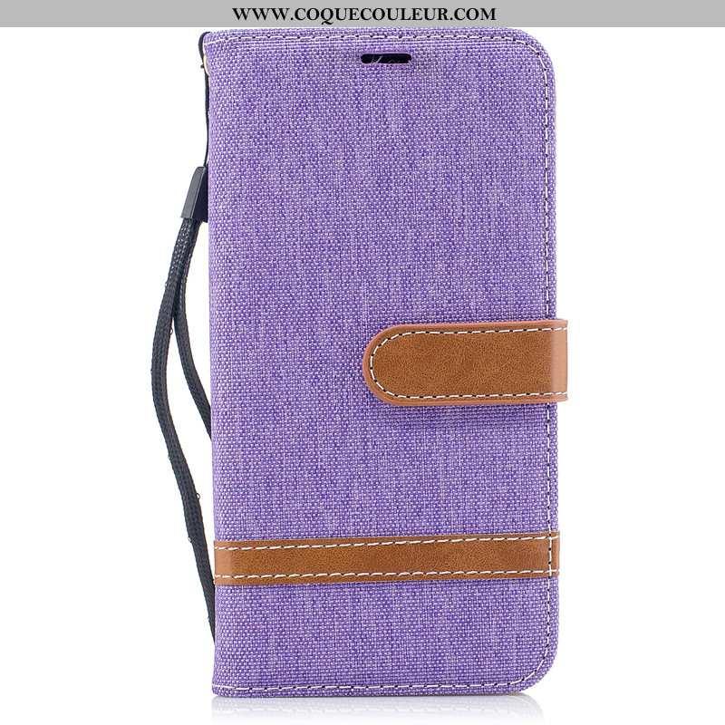 Coque Samsung Galaxy A40 Cuir Violet Étui, Housse Samsung Galaxy A40 Protection