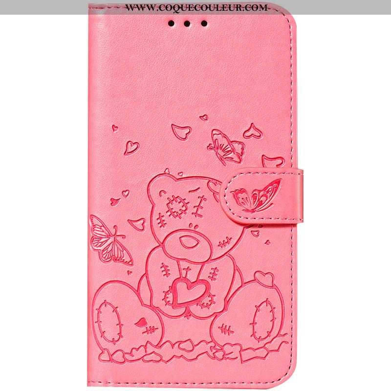 Coque Samsung Galaxy A40 Dessin Animé Ours, Housse Samsung Galaxy A40 Cuir Incassable Rose