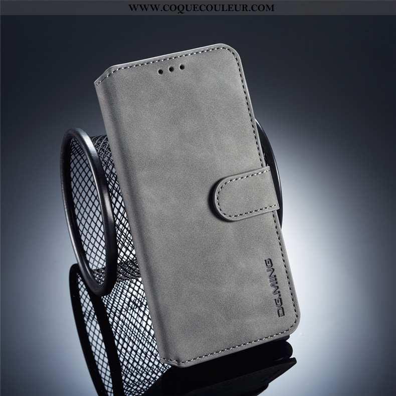 Coque Samsung Galaxy A40 Cuir Protection Gris, Housse Samsung Galaxy A40 Fluide Doux Carte Gris