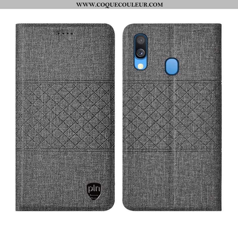 Housse Samsung Galaxy A40 Protection Coque Lin, Étui Samsung Galaxy A40 Cuir Tout Compris Gris