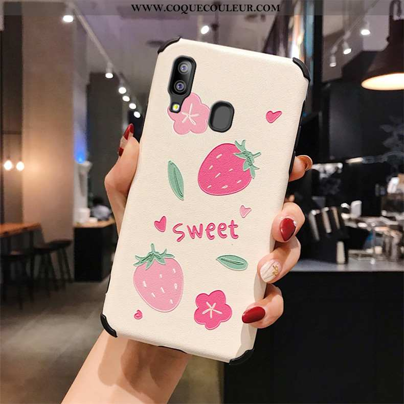 Étui Samsung Galaxy A40 Gaufrage Téléphone Portable Soie Mulberry, Coque Samsung Galaxy A40 Modèle F
