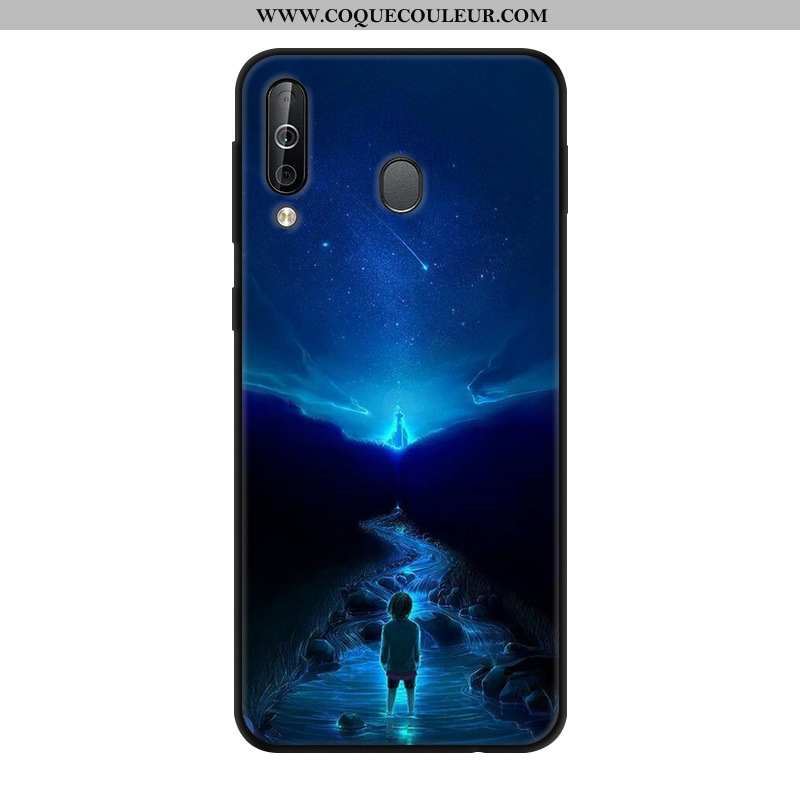 Housse Samsung Galaxy A40s Protection Bleu Marin Personnalité, Étui Samsung Galaxy A40s Verre Bleu F