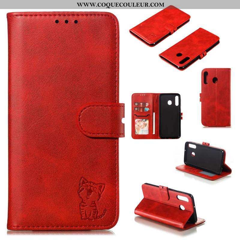 Housse Samsung Galaxy A40s Cuir Téléphone Portable, Étui Samsung Galaxy A40s Protection Bovins Rouge