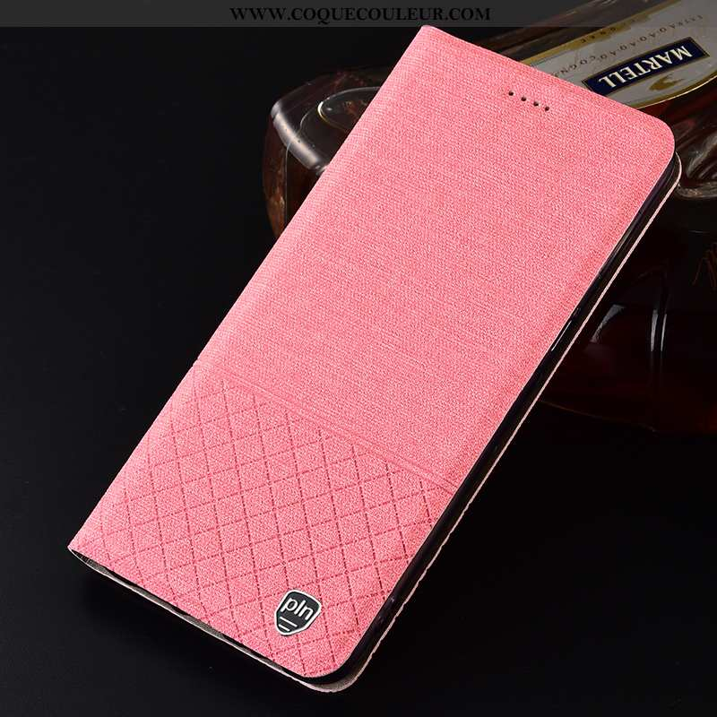 Housse Samsung Galaxy A40s Protection Étui Lin, Samsung Galaxy A40s Plaid Étoile Rose