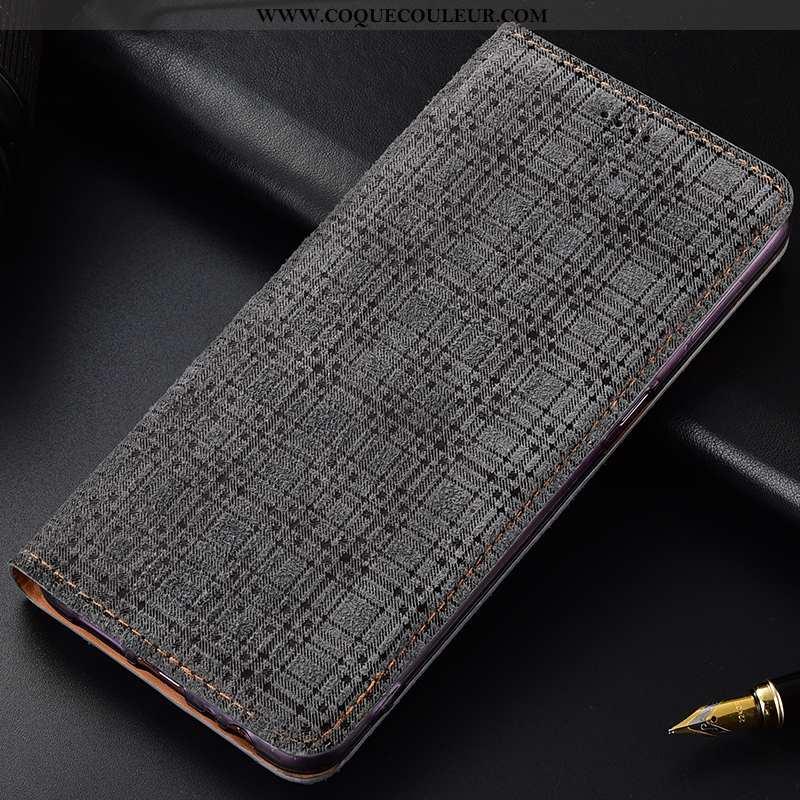 Coque Samsung Galaxy A40s Cuir Véritable Velours Gris, Housse Samsung Galaxy A40s Modèle Fleurie Étu
