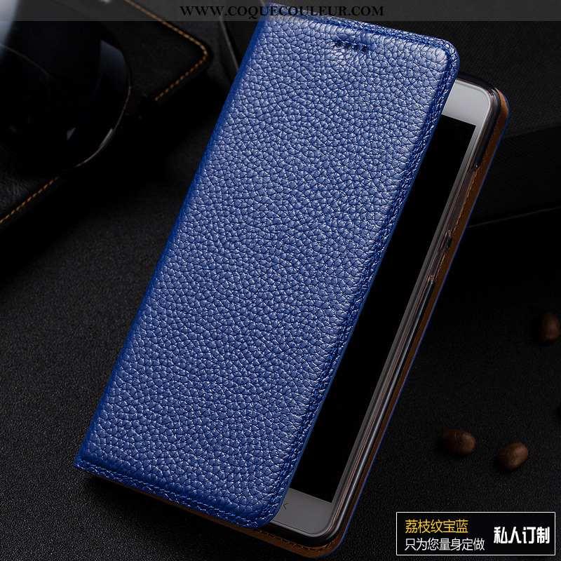 Étui Samsung Galaxy A40s Cuir Véritable Incassable Litchi, Coque Samsung Galaxy A40s Modèle Fleurie