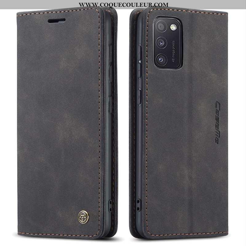 Étui Samsung Galaxy A41 Protection Bovins Coque, Coque Samsung Galaxy A41 Cuir Étoile Noir