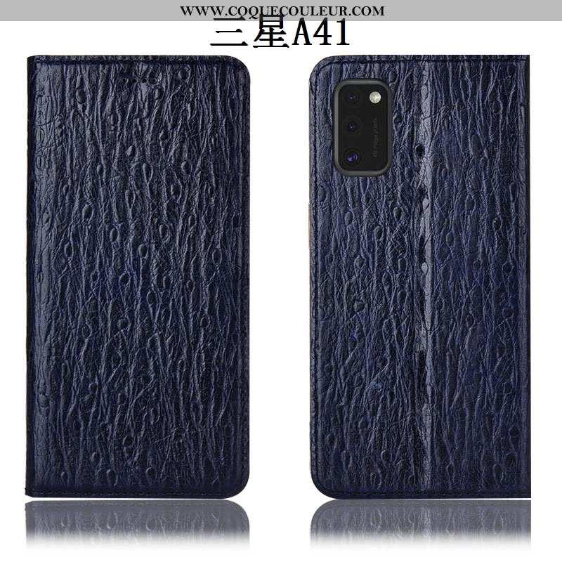 Housse Samsung Galaxy A41 Cuir Véritable Incassable Coque, Étui Samsung Galaxy A41 Protection Noir