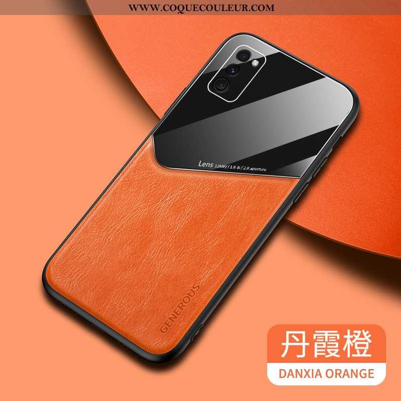Coque Samsung Galaxy A41 Tendance Net Rouge Fluide Doux, Housse Samsung Galaxy A41 Cuir Étui Orange