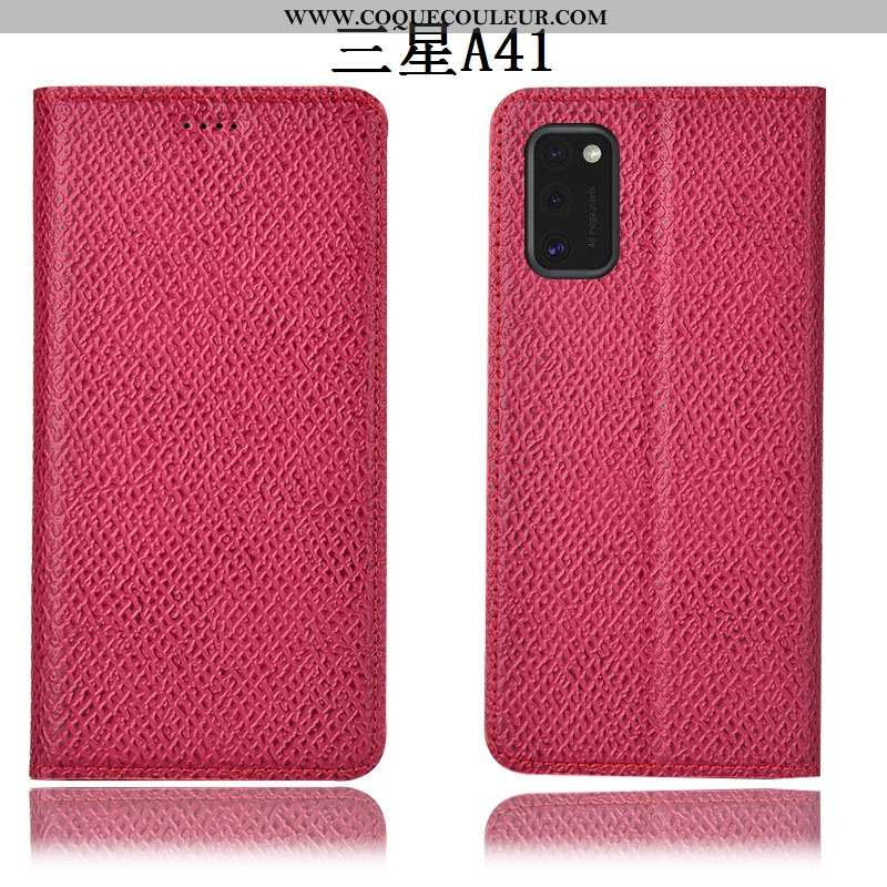 Coque Samsung Galaxy A41 Cuir Véritable Incassable Étoile, Housse Samsung Galaxy A41 Modèle Fleurie