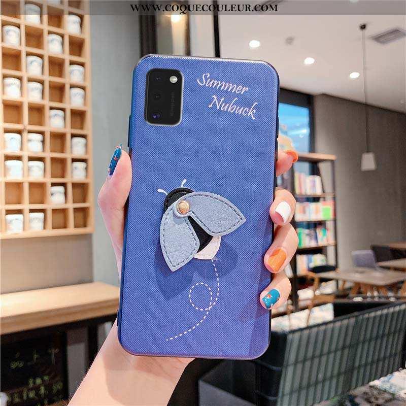 Étui Samsung Galaxy A41 Créatif Bleu, Coque Samsung Galaxy A41 Dessin Animé Incassable Bleu