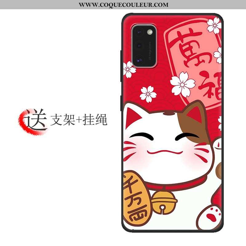 Étui Samsung Galaxy A41 Tendance Coque Verre, Samsung Galaxy A41 Protection Tout Compris Rouge