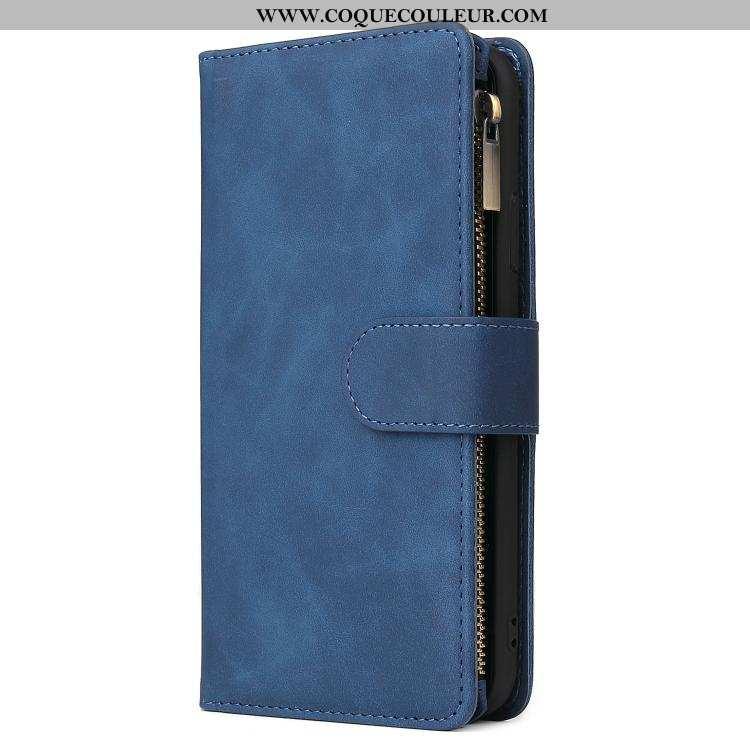 Coque Samsung Galaxy A41 Cuir Housse Coque, Samsung Galaxy A41 Protection Bleu