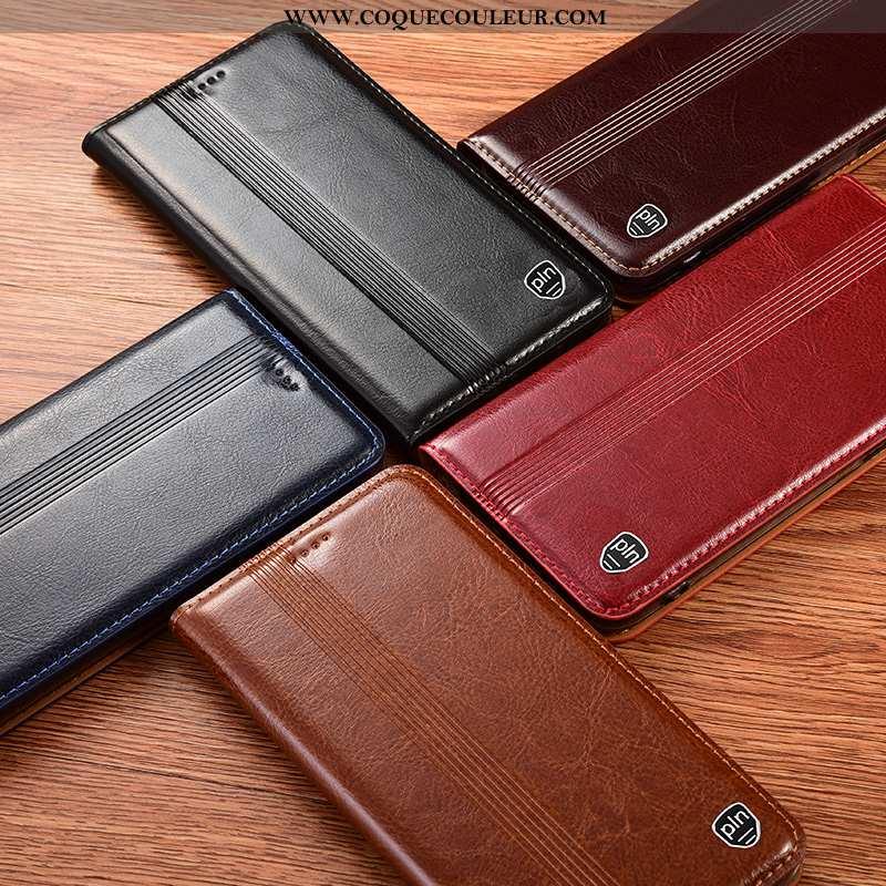 Coque Samsung Galaxy A41 Protection Incassable, Housse Samsung Galaxy A41 Cuir Véritable Noir