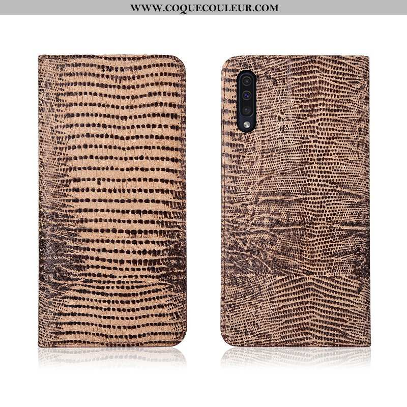 Housse Samsung Galaxy A50 Cuir Véritable Kaki Fluide Doux, Étui Samsung Galaxy A50 Cuir Clamshell Kh