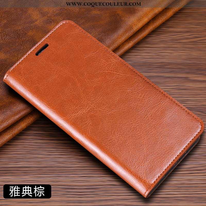 Housse Samsung Galaxy A50 Cuir Véritable Net Rouge Carte, Étui Samsung Galaxy A50 Cuir Étoile Marron