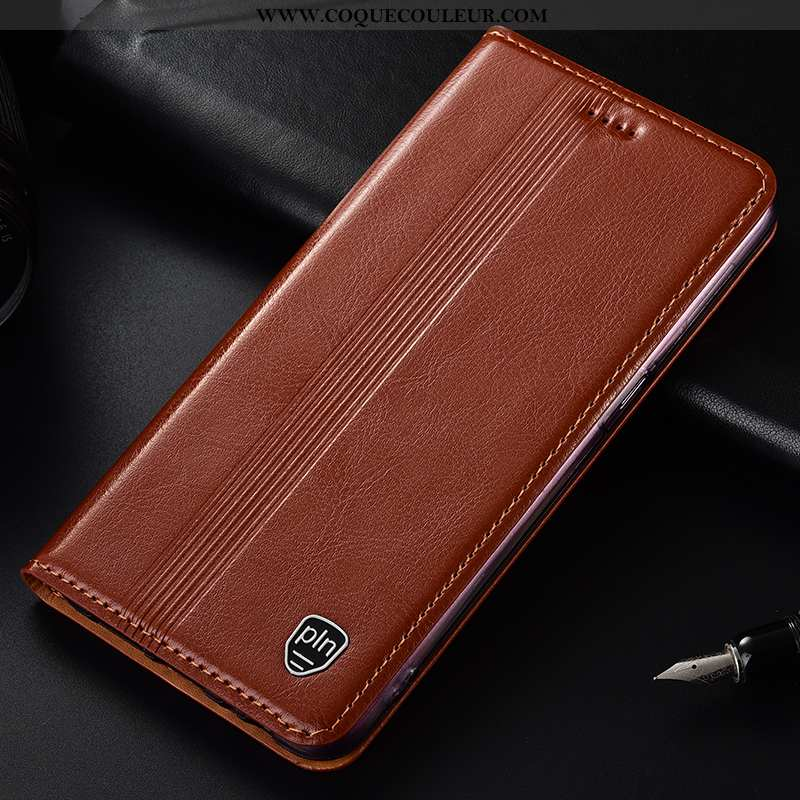 Housse Samsung Galaxy A50 Cuir Véritable Incassable, Étui Samsung Galaxy A50 Protection Coque Marron