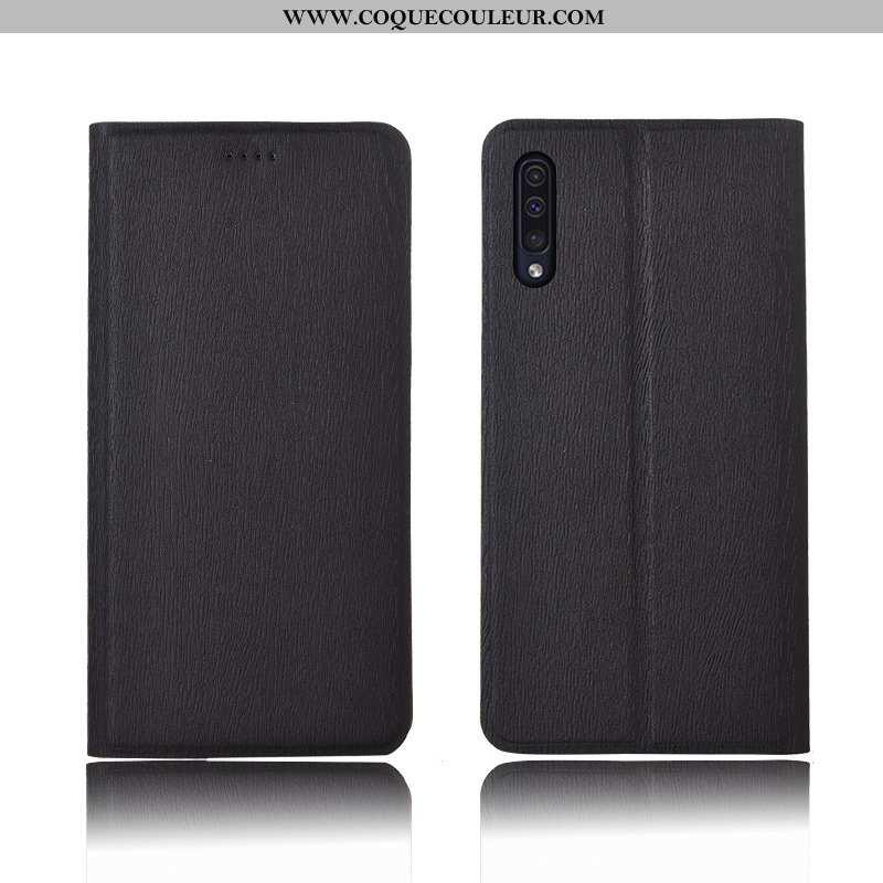 Housse Samsung Galaxy A50 Cuir Fluide Doux Incassable, Étui Samsung Galaxy A50 Modèle Fleurie Clamsh