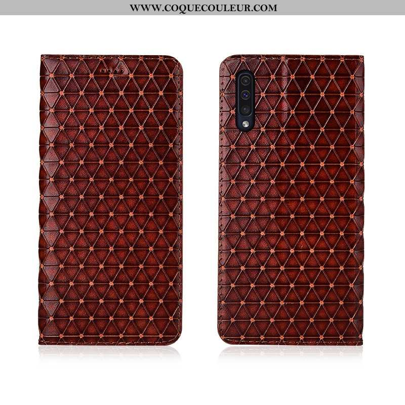 Housse Samsung Galaxy A50 Cuir Véritable Plaid Clamshell, Étui Samsung Galaxy A50 Cuir Protection Ma