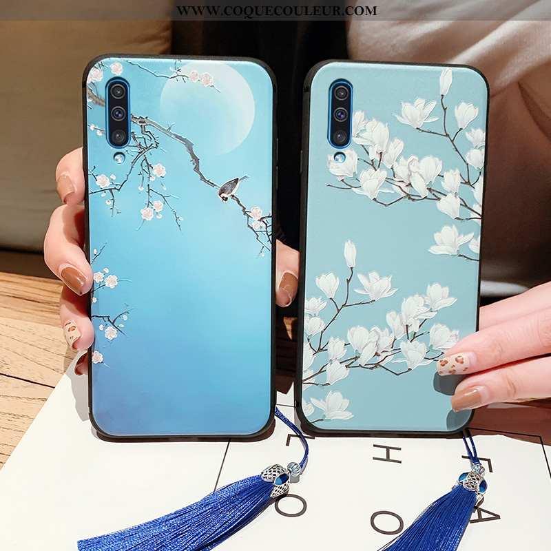 Étui Samsung Galaxy A50 Vintage Étoile Fluide Doux, Coque Samsung Galaxy A50 Ultra Bleu