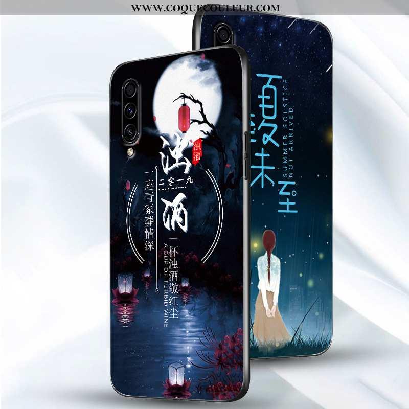 Housse Samsung Galaxy A50 Silicone Incassable Étui, Étui Samsung Galaxy A50 Protection Simple Bleu F