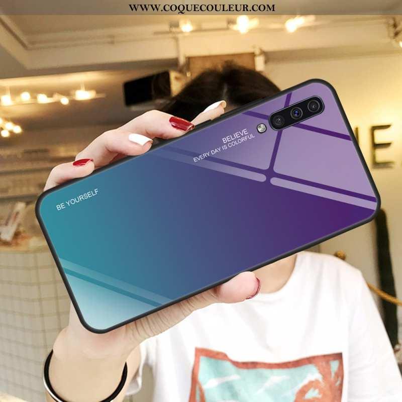 Étui Samsung Galaxy A50 Verre Tempérer Miroir, Coque Samsung Galaxy A50 Protection Violet