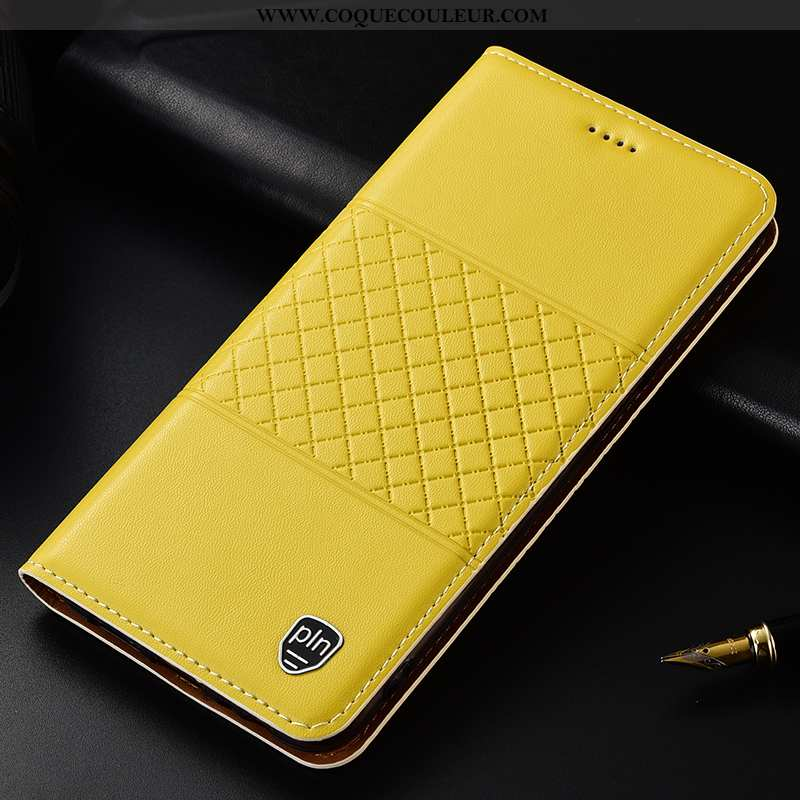 Étui Samsung Galaxy A50s Cuir Véritable Coque, Coque Samsung Galaxy A50s Protection Plaid Jaune