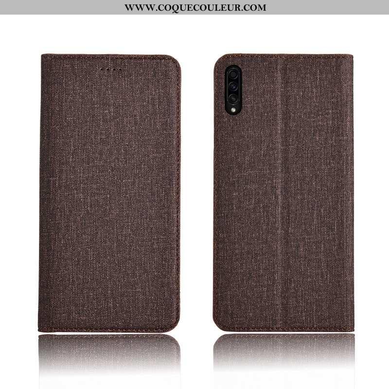 Étui Samsung Galaxy A50s Cuir Incassable Délavé En Daim, Coque Samsung Galaxy A50s Fluide Doux Marro