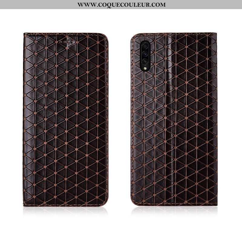 Coque Samsung Galaxy A50s Cuir Silicone Tendance, Housse Samsung Galaxy A50s Fluide Doux Étui Marron