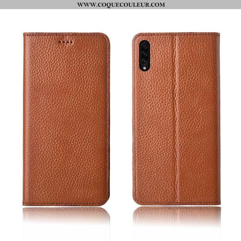 Étui Samsung Galaxy A50s Silicone Délavé En Daim Litchi, Coque Samsung Galaxy A50s Protection Khaki