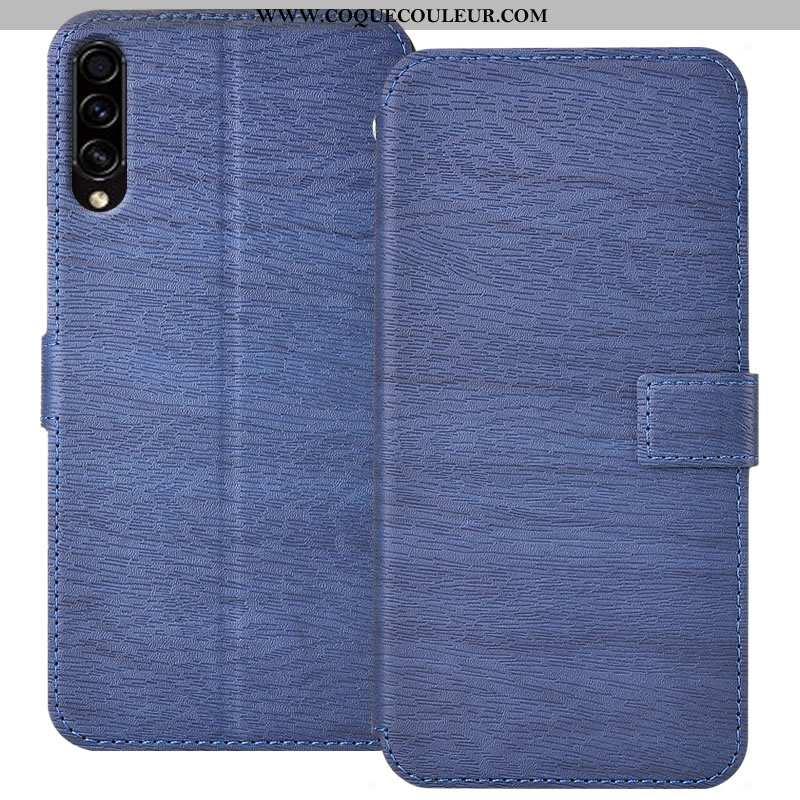 Étui Samsung Galaxy A50s Protection Clamshell Tout Compris, Coque Samsung Galaxy A50s Cuir Bleu